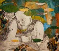 By: Satu Laaninen  Herkkupurkki: kollaasi pikkukimalainen.blogspot.com  drawing, portrait, mother and child, grandmother, love