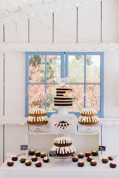 wedding cake table - photo by Artistrie Co http://ruffledblog.com/leo-carrillo-ranch-barbecue-wedding #weddingcake #cakes