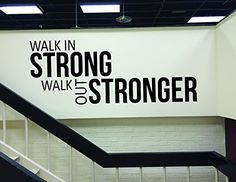 Fitness Wall Decal, Fitness Studio Decor, Home Gym Wall Decal, WALK IN STRONG WALK OUT STRONGER * More info could be found at the image url.