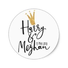 Harry and Meghan Royal Wedding Script Classic Round Sticker - gold wedding gifts customize marriage diy unique golden
