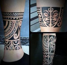 Lower Leg Maori Mens Black Ink Tattoo