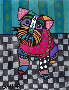 Miniature Schnauzer Art Gift PRINT Dog Poster Art Modern Painting HEATHER GALLER