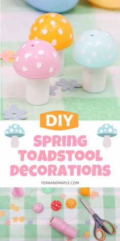 Create the cutest DIY Spring Toadstool ornaments, garland, or table decor with these easy step-by-step instructions! Perfect for a gnome-themed party. Get details now at fernandmaple.com!