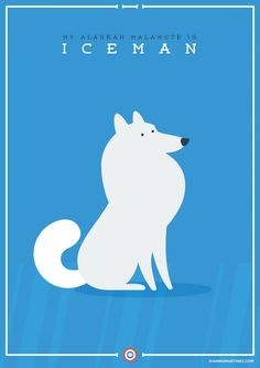 My Alaskan Malamute is #Iceman. The League of Extraordinary Doggies  #illustration #vector #design #flatdesign #adobe #illustrator #graphicart #digitalart #artprint #comic #cartoon #poster #film #superhero #xmen #marvel #marvelcomics #mutant #dog #AlaskanMalamute #Alaskan #Malamute #Mal #Mally #SiberianHusky #Samoyed #doggie #puppy #pet #cute  www.juanmamartinez.com