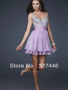 Charming A Line Lavender Chiffon Homecoming Dresses Gowns Short Under 50 Sequin Spaghetti Straps Semi Formal Special Holiday $46.09