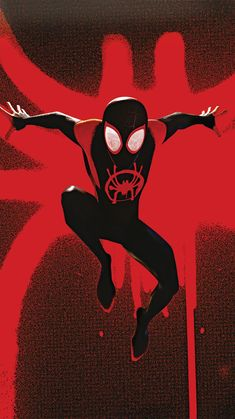 Spider-Man: Into the Spider-Verse Phone Wallpaper Black Spiderman, Amazing Spiderman, Spiderman Spider, Chibi Marvel, Marvel Art, Marvel Heroes, Miles Morales Spiderman, Miles Spiderman, Spiderman Tattoo