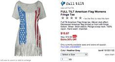FULL TILT American Flag Womens Fringe Tee, $15.97
