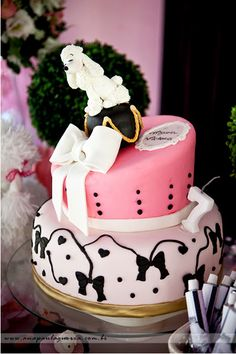 French Poodle In Paris Birthday Cake