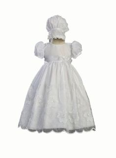 White Embroidered Organza Christening Baptism Gown with Matching Bonnet - Size S (3-6 Month) Swea Pea & Lilli. $59.95