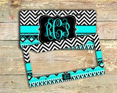 Gift for women, cute monogram license plate or frame - Aztec pattern and chevron in light turquoise and black - bike license plate (1292) on Etsy, $12.99