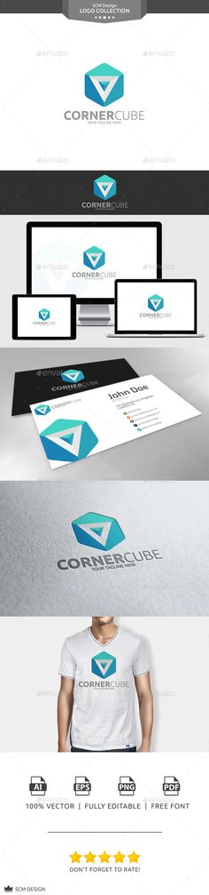 Corner Cube Logo (Vector EPS, AI Illustrator, Resizable, CS5, 3d, black, blue, box, brand, clean, concept, corner, cube, design, flat, geometric, gray, hexagon, identity, illustrator, logo, new, poly, polygon, print, smart, square, template, triangle, vector, web)