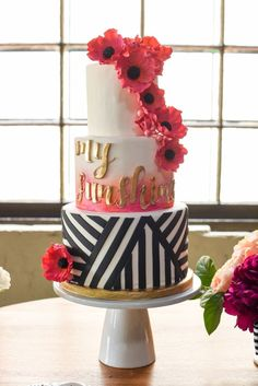 Hot Pink, Black and Gold Cake | Chic Modern Pink and Orange Wedding Ideas via TheELD.com | Ashton Events and Mikkel Paige Photography