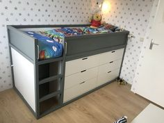 Q: Which chest of drawers fits under the KURA bed? I've seen quite a few IKEA KURA bed with chest of drawers beneath it. Here are 5 ways to add storage under the IKEA KURA bed, from drawers to open units. Ikea Hacks, Ikea Hack Kids, Ikea Kids Bed, Bunk Beds With Storage, Bed Storage, Bed With Drawers, Chest Of Drawers, Cama Ikea Kura, Nordli Ikea