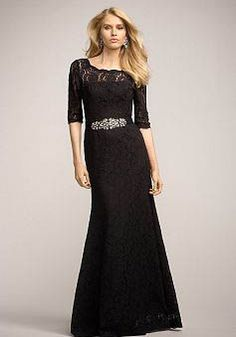 Fit N Flare Lace Natural Waist Bateau Half Sleeve Keyhole Bridesmaids Gowns - Angeldress.co.uk