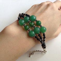 Nephrite Jade Bracelet. Artisan. Pro Handmade. Real Semi Precious Stone Bracelet