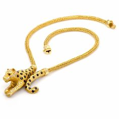 Diamond Sapphire Gold Panther Necklace | From a unique collection of vintage drop necklaces at http://www.1stdibs.com/jewelry/necklaces/drop-necklaces/
