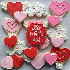 Valentine cookies by Icings by Ang - LOVE the heart-shaped hot air balloons!