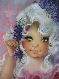 Vintage Greeting Card Beauty Big eyed little girl
