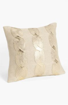 Nordstrom Aran Cable Pillow Cover. Just reduced to $26! Gold/Latte. So pretty, going to have to order this!