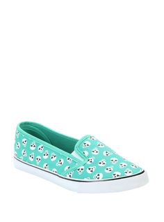 <p>Slip these cute sneakers on to add a fun pop of color to your outfit! Teal slip-on shoes with a white skull with heart eyes print. True to size.</p>  <ul> 	<li>Man-made materials</li> 	<li>Imported</li> 	<li>Listed in women's sizes</li> </ul>