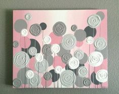 Nursery Wall Art, Pink with Grey Textured Flowers, Acrylic Painting on Canvas, Made to order Acrylic Painting Flowers, Abstract Flowers, Love Painting, Texture Painting, Acrylic Painting Canvas, Canvas Art, Painted Canvas, Painting Abstract, Acrylic Art