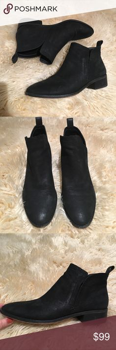 Black suede Dolce Vita Tessey boots Black suede Tessey boots from Dolce Vita. Size 9.5, pretty roomy! Super comfortable, very lightly worn, in really good condition. Owned for about a month. Trendy side split detail! Dolce Vita Shoes Ankle Boots & Booties
