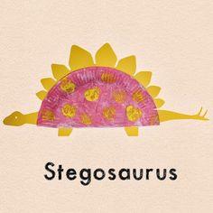 Learn with Play at home: Paper Plate Dinosaur Craft for Kids with Free Templates. En la web estan las plantillas para hacer varios dinosaurios