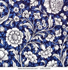 traditional  blue , white and black floral decorative paper backdrop - stock photo