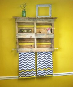 Pallet Bathroom Shelf With Towel..love this idea! Want to try and make it myself Rack by SawmillCreations on Etsy, $69.00