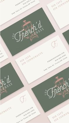 Branding for a french inspired cafe / coffee shop. The French'd Press. Includes the logo design illustration of a french press tile pattern and packaging for coffee cups. Coffee Shop Branding, Bakery Branding, Coffee Shop Logo, Branding Design, Logo Design, Website Design, Web Design, Bakery Business Cards, Bussiness Card