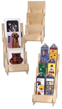 3 Tier Wooden Counter Rack w/ clear front panel Craft Fair Displays, Market Displays, Card Displays, Craft Booths, Greeting Card Holder, Card Holders, Stall Display, Display Ideas, Postcard Display