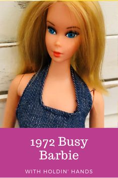 "Her ""busy"" hands can hold a number of accessories including a phone, record player, color TV, travel case and a soda set of a brown tray with two glasses. Her hands can bend and turn at the wrist, and also grasp and carry. #BusyBarbie #ModBarbie #VintageBarbie #BarbieDoll"
