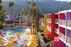 The most colorful cities in the world.   The Saguaro Hotel, Palm Springs, California