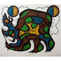 """JOSHIM (JOSH)  KAKEGAMIC (NATIVE CANADIAN, 1952-1993), NURSING THE CUB, SCREEN PRINT; SIGNED, TITLED, NUMBERED 15/57 AND DATED /80 IN PENCIL (Image, 16.5"""" x 20"""") (Sight, 20.5"""" x 27"""") Woodlands School, Native Canadian, Number 15, Native American Fashion, Native Americans, Folklore, Cubs, Nativity, Screen Printing"""