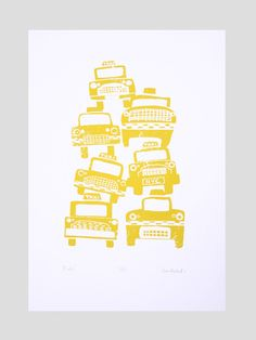 Image of Cabs - Hand Pulled, limited edition, screen print