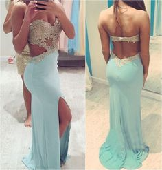 The Charming Light Sky Blue Long Prom Dresses,Open Back Prom Dresses,Front Split Evening Dresses Fo on Luulla
