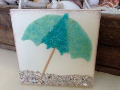 Dreaming of sitting under a beach umbrella.. These adorable mini 4x4 Beach Art look great paired with my other listing of the tropical palm tree for your coastal decor, also makes a unique hostess gift hung from a wine bottle, Each piece is handmade from crushed glass, crushed