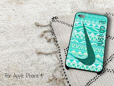 Blue Nike Just Do It Aztec iPhone 4 iPhone 4S Case by casedragon, $15.79