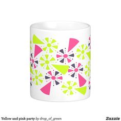 Yellow and pink party classic white coffee mug