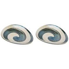 Organic Pair of Italian Pearl White Murano Glass Bowls with Aqua Blue Murrrine