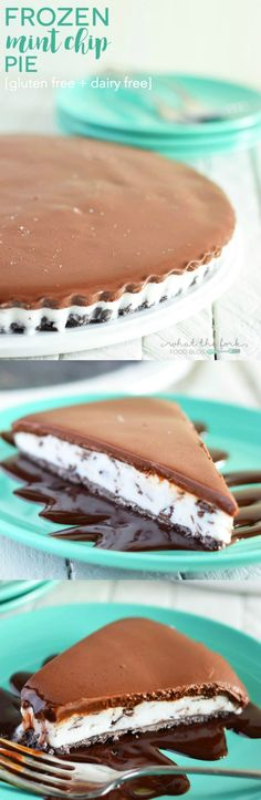 Frozen Mint Chip Pie (gluten free and dairy free) from What The Fork Food Blog | http://whattheforkfoodblog.com/?utm_campaign=coschedule&utm_source=pinterest&utm_medium=Sharon%20%7C%20What%20The%20Fork%20Food%20Blog&utm_content=Frozen%20Mint%20Chip%20Pie