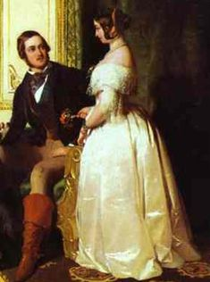 Queen Victoria and the Prince Consort at home, 1841. Her dress shows the fashionable silhouette, with its pointed waist, sloping shoulder, and bell-shaped skirt.
