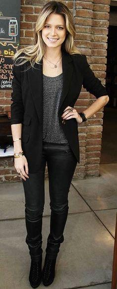 Casual tee with black blazer + slacks
