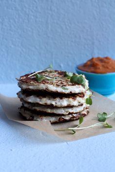 Cauliflower + Goat Cheese Fritters #cleaneating #vegetarian #gluten free #sugar free #grain free #healthy