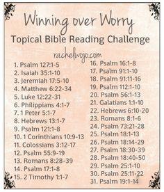 Winning Over Worry Bible Reading Plan