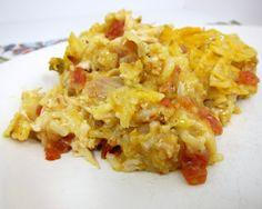 Fiesta Chicken Casserole--use doritos instead of tortilla chips--super easy~