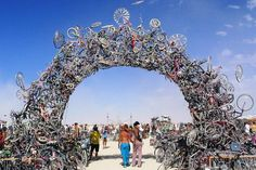 RECYCLED ART | Artists Mark Grieve and Ilana Spector, who collected the bicycles from the debris piles of nonprofit bicycle organizations, created this bicycle arch. The archway features 300 bikes and was on display in California.