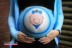 Bellypaint baby boy. Buikschildering.  www.schmink-ie.nl