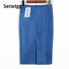 SETWIGG Ladies Faux Suede Midi Pencil Skirts 2016 Solid High Waist Velvet Suede Back Split Boydcon Midi Skirts Saias 6 Colors