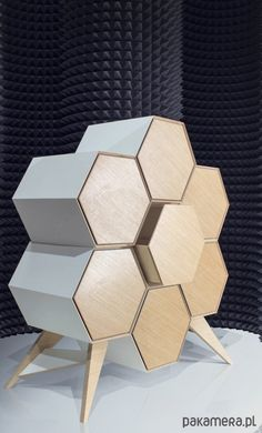 Komoda HONEYCOMB – MCASES Furniture hexagon wooden drawers and rack cabinet storage for your room Folding Furniture, Smart Furniture, Plywood Furniture, Home Decor Furniture, Pallet Furniture, Furniture Projects, Furniture Design, Furniture Stores, Drawer Design